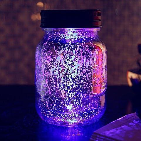 Botella de vidrio colorido regalo de creativa LED tanque ligero cambio automático estrellas plata de ahorro solar Sun jar,Blu-ray