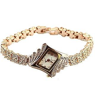 Baakyeek Gold Plated Wrist Watches Man-nade Diamond Watches Elegant Rhombus Women's Girls Ladies Quartz Wristwatch