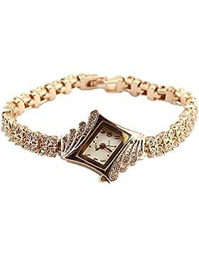 Gold Plated Armbanduhren Imitation von Diamant Uhren Elegante Rhombus Frauen Mädchen Damen Armbanduhr Geschenk...