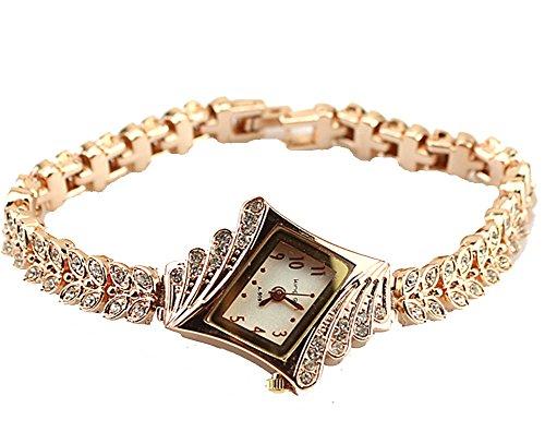 Gold Plated Armbanduhren Imitation von Diamant Uhren Elegante Rhombus Frauen Mädchen Damen Armbanduhr Geschenk für Freundin
