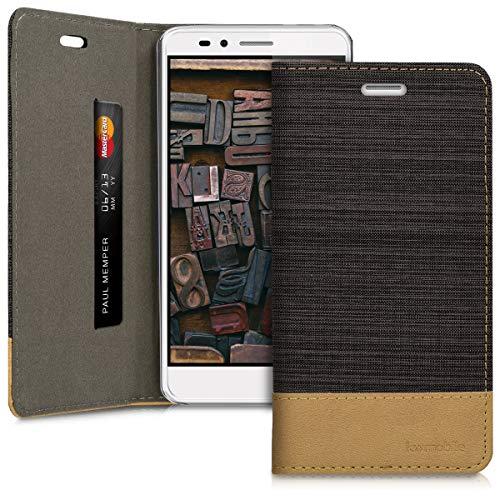kwmobile Huawei Honor 5X / GR5 Hülle - Stoff Handy Cover Case mit Ständer - Schutzhülle für Huawei Honor 5X / GR5
