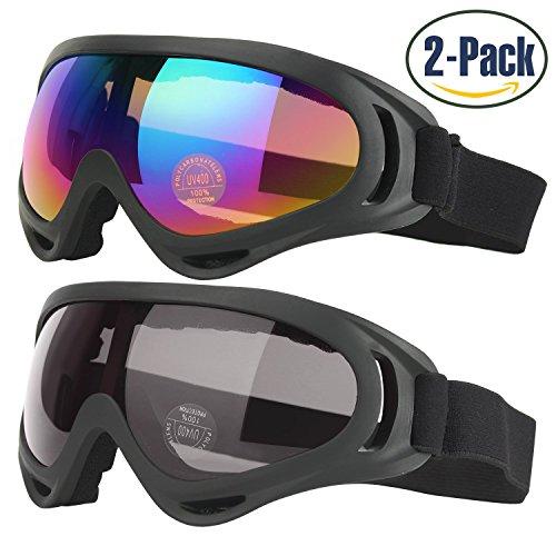 2 pezzi occhiali da sci con UV400 Protezione Antivento Antiriflesso Lenti Antipolvere, sci maschera per Bambini, Giovani Ragazzi e Ragazze, Uomini e Donne(1 colore + 1 grigio)