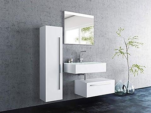 Sieper Badmöbel Badmöbelset Leone mit Hochschrank - Unterschrank 80cm Breit -weiß - Badmöbel Badezimmermöbel Waschtisch Unterschrank Badmöbel Set