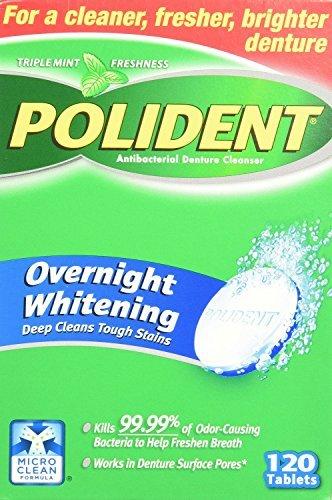 Polident Overnight Whitening Denture Cleanser 120 Tablets