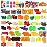 BeebeeRun Set de Cocina Play Niños,Frutas y Verduras Juguete ,Alimentos Juguetes Niños 3 Años,123 Piezas