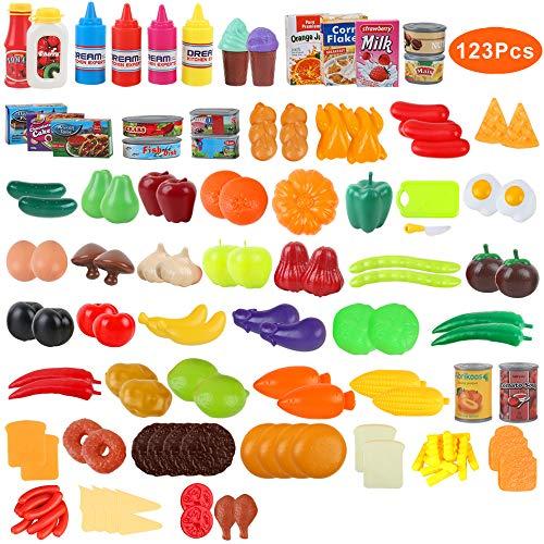 BeebeeRun 123 Teile Lebensmittel Spielzeug,Küche Kinder,Essen Spielzeug,Küchenspielzeug für Kinder Plastik Obst Gemüse Küchen Set,Pädagogisches Lernen Kinder Rollenspiele Spielzeug