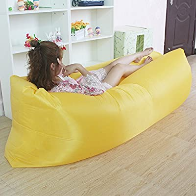 RBL Outdoor Portable Collapsible Beanbag Fast Inflatable Bed Inflatable Lunch Break Sofa Bed Lazy Sleeping laybag Cushion (Yellow)