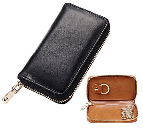 414c7363b7ee Lememogo Leather Key Case Zipper Classy Card Wallet Cash Coin Change Purse  Pouch Car key Bag Keychain Holder for Men Boys Travel 12.2x2.5x7.5 cm ...