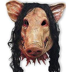CLEAVE WAVES Masque De Tête De Cochon Unisexe avec des Cheveux Animal Saw Masquerade Prop Party Latex Halloween Noël