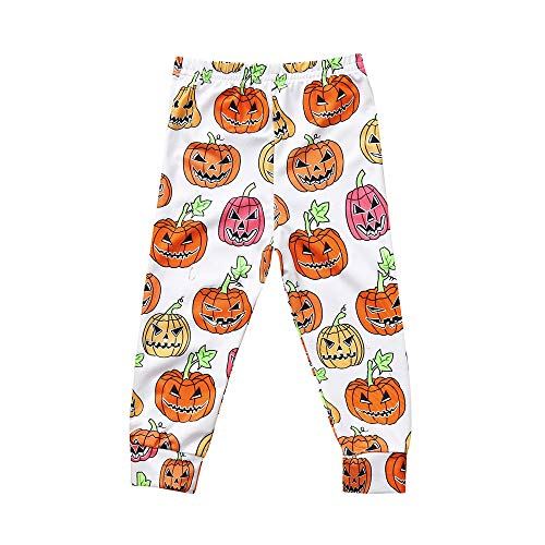 (OHQ Kleinkind Kinder Baby Mädchen Halloween Kürbis Fledermaus Gedruckte Hose Outfits Dünn Hose Gamaschen Mode Baumwolle Langehose Casual Lächelndes Gesicht Leggings)