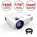 DR.Q Projector(Upgraded), Multimedia Home Theater Projector, Supports 1080P HD, 170 Inch Projection Size, 40000 Hours, Connection with HDMI VGA USB TF Devices, with HDMI and AV Cable, White.