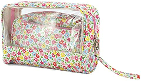 3 Piece Vintage Floral Cosmetic Bag/Purse Set - ideal gift! (BZ5014 White)