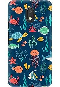 AMEZ designer printed 3d premium high quality back case cover for Moto E3 Power (fishturtlejellyfisharttexture104452640x1136)