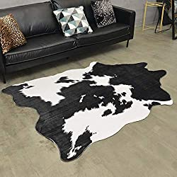 Home rugs Alfombra de Piel de Vaca con Área Impresa 4.5x6.5 Alfombra de Cuero de Piel de Vaca Blanca para Grandes Dimensiones