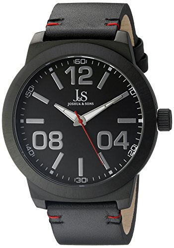 Joshua & Sons Men's JX103BK Black Quartz Watch with Black Dial and Black Leather Strap