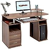Computer-Schreibtisch mit Regalen, Schrank und Schubladen fürs Home Office, in dunkler Nussbaum-Optik, vonPiranha Furniture Tetra PC 5