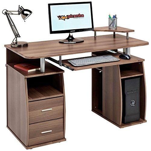 Computer-Schreibtisch mit Regalen, Schrank und Schubladen fürs Home Office, in dunkler Nussbaum-Optik, vonPiranha Furniture Tetra PC 5 (Schreibtisch Walnuss-finish,)