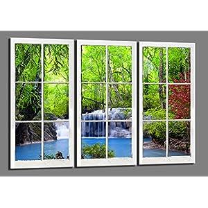 Visario 120 x 80 cm Bild auf Leinwand Fenster Wasserfall Blick 4404-SCT deutsche Marke und Lager – Die Bilder/das…