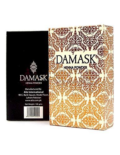 Henna-farbstoff (DAMASK - Henna Body Art Qualität - Intensives Dunkelrot - Sehr Cremig - Ideal für Tattoos - 100% Lawsonia Pakistan - Ohne Picrams, PPD oder Farbstoffe synthetischen Ursprungs - 100 gr)