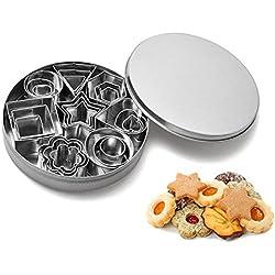 Mini cortador de galletas Set bsvlia 24piezas cortadores de galletas de acero inoxidable moldeado decoración de pasteles cortadores de fondant