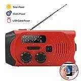 Radio de manivelle de secours Radio manivelle auto-alimentée par radio solaire solaire AM/FM avec banque de puissance de lampe de poche LED