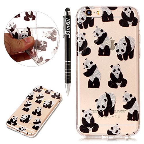 Coque iPhone 6 Plus, iPhone 6S Plus Coque Silicone Transparent, SainCat Ultra Slim Transparent TPU Silicone Case Cover pour iPhone 6/6S Plus, Coque Bling Gliter Strass Brillante Anti-Scratch Crystal C Panda