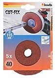 kwb Fiberschleifscheibe Korn 40 Cut-Fix 714104 (Schleifscheibe, 115 x 22, 5 Stück, für schwere Schleifarbeiten, Stahl)