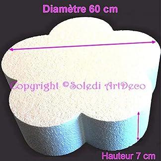 Lealoo – Base Plana Grande 2D de poliestireno Blanco, diámetro 60 cm x Grosor 7 cm, Soporte para Centro de Mesa.