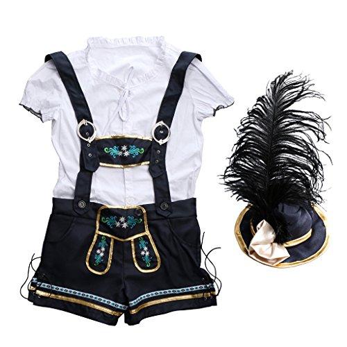 Gazechimp Oktoberfest Kostüm für Damen| 3-teiliges Wiesn-Kostüm: Hemd & Trachtenhose & Hut | Bayern Faschingskostüm für Erwachsene | Bayer Trachtenkostüm für Karneval - M