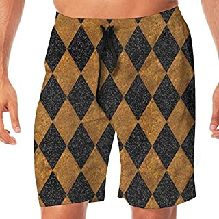 Harlequin Diamonds ~ Black AndK Gold ~ Sequins ~ Tall Men's Beachwear Slim Fit Summer Holiday Swim Trunks Quick Dry Striped Swim Shorts-XXLarge