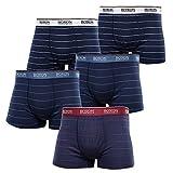 BOXON Boxershorts - Blaue Retroshorts mit Streifen - 5er Pack