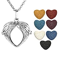 JOVIVI Antique Silver Aromatherapy Essential Oil Diffuser Necklace Wing Heart Locket Pendant with 7 Dyed Multi-Colored Lava Stones