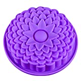 Kuchenform aus Silikon, waschbar, langlebig, Motiv: Chrysantheme Blume, Farbe zufällig