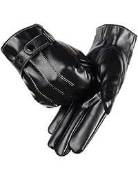 Y-BOA Noir Gants Homme Cuir Simili Doublure Polaire Chaud Hiver Moto Conduite