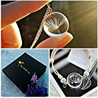 Matching Dandelion Necklace and Bracelet Set with STERLING SILVER chain Gift Box - Wrap bracelet flower jewelry for women birthday gift set