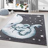 HomebyHome Kinderteppich Kurzflor Elephant Kinderzimmer Babyzimmer Grau Blau Meliert, Größe:120 cm Rund