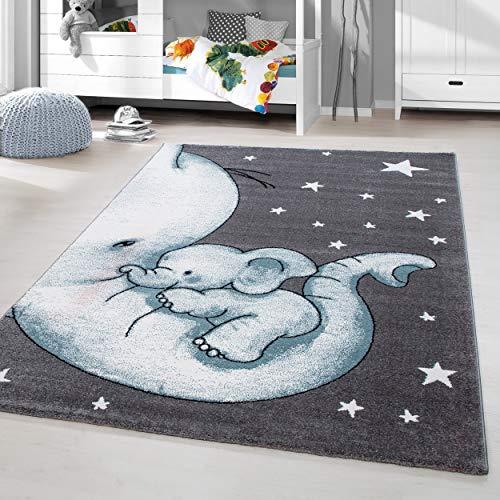 HomebyHome Kinderteppich Kurzflor Elephant Kinderzimmer Babyzimmer Grau Blau Meliert, Größe:80x150 cm