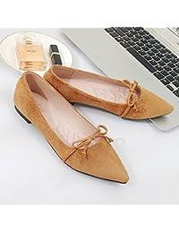 Xue Qiqi Pajarita con Finos Muebles, una Sola Punta Zapato Calzado Plano de luz Plana con Solo Zapatos Femeninos...