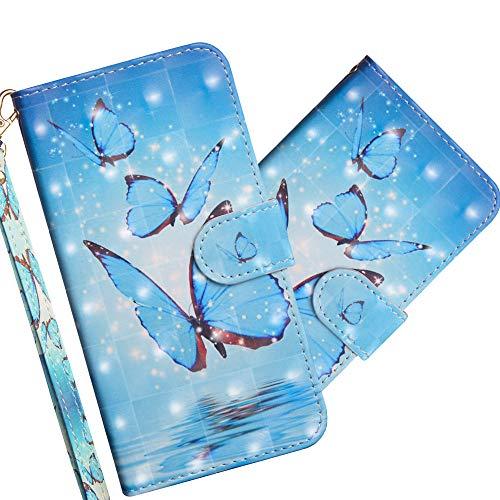 COTDINFOR Huawei Mate 20 Hülle 3D-Effekt Painted cool Schutzhülle PU Leder Flip Bookcase Handy Tasche Schale mit Magnet Standfunktion Etui für Huawei Mate 20 Three Blue Butterflies YX.