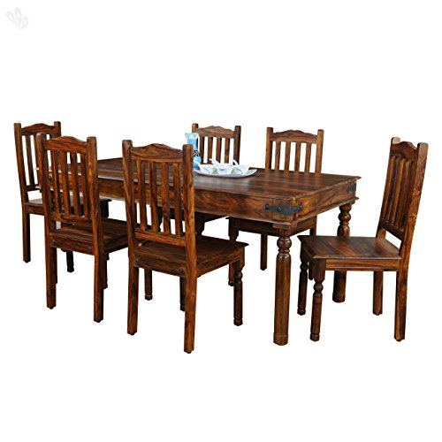 Royal Oak Sapphire 6 Seater Dining Table Set (Honey Finish, Brown)