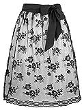 Elegante Schwarze Dirndlschürze mit Rosen und Pailletten - Gr. M Länge 60 cm