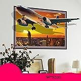 3D Wandaufkleber Aufkleber Tier Wand Gemälde Wohnzimmer Schlafzimmer Nachttisch Dekoration wasserdicht selbstklebend Tapeten Tapete (Flugzeug) (94 * 52cm)