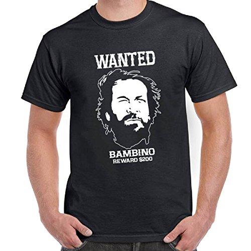 T-Shirt Divertente Scura Bud Spencer e Terence Maglietta Film Trinità Wanted, Colore: Nero, Taglia: XL