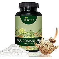 GLUCOMANNAN – Sättigungskapseln Vegavero | Laborgeprüft | Vegan und OHNE Zusätze | trägt im Rahmen einer kalorienarmen Ernährung zu einem GEWICHTSVERLUST bei | aus der Konjakwurzel | 120 Kapseln