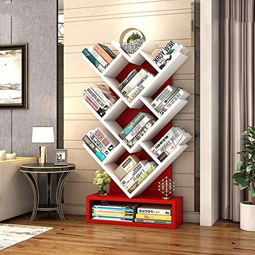 HM&DX Holz Standregal bücherregal 9 Regale, Zeitgenössische Baum Anzeigen Bücherschrank Mit Basis Stabil Aufbewahrungsregal Für Haus büro-rot - Regal Zeitgenössische Bücherregal