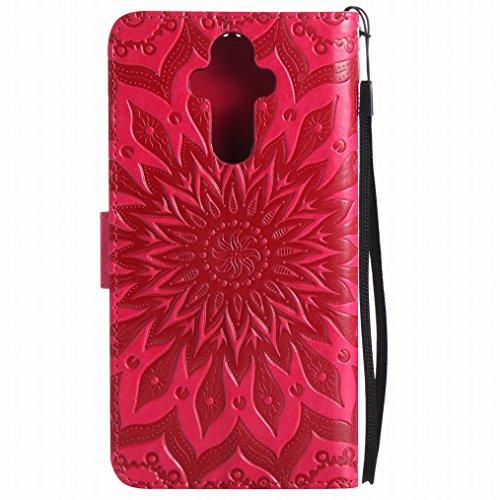 LEMORRY Huawei Mate 9 Custodia Pelle Cuoio Flip Portafoglio Borsa Sottile Bumper Protettivo Magnetico Morbido Silicone TPU Cover Custodia per Huawei Mate 9, Fiorire Viola Rosso