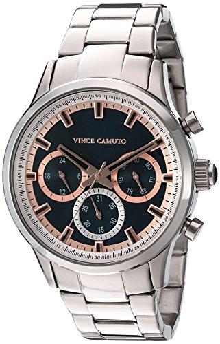 Vince Camuto Homme VC/1087nvsv multifonction Cadran argenté Bracelet de montre