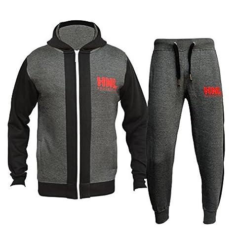 Star Fashion Chandails de course à pied pour garçons HNL - Pull à capuche imprimé à motif et bas de jogging New Age 7-13 (âge 7-8, charbon)