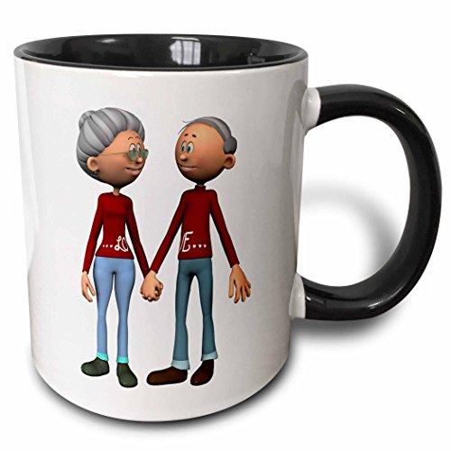 3dRose Older Couple Holding Hands - Two Tone Black Mug, 11oz (mug_162380_4), 11 oz, Black/White