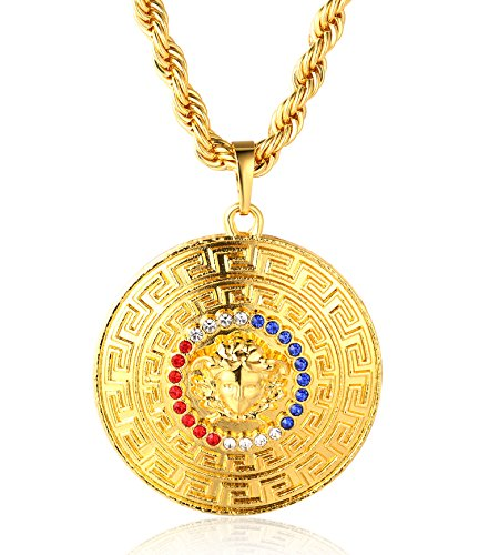 Halukakah ● Big Daddy ● Men's 18k Real Gold Plated Medusa Medallion Pendant Necklace,with Free Rope Chain 30